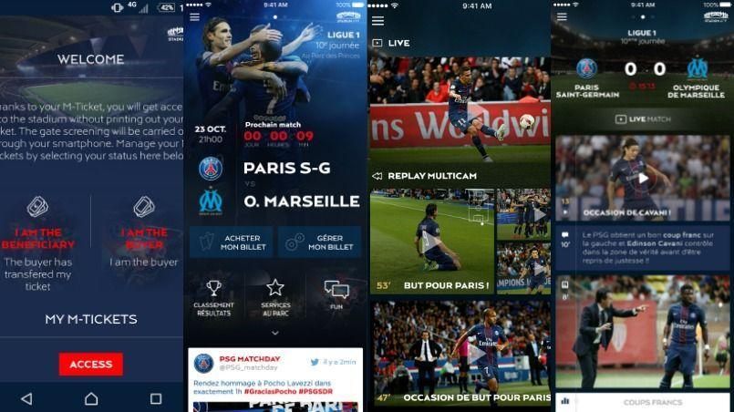 Captures d'écran de la Stadium App mobile du PSG.