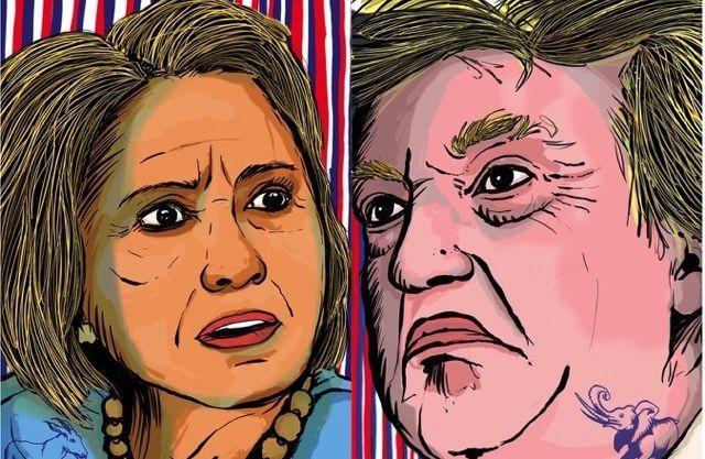 Hillary Clinton ou Donald Trump? L'affiche réalisée par le restaurant Joe Allen, qui, comme pour toutes les élections US, reste ouvert jusqu'à la proclamation des résultats.