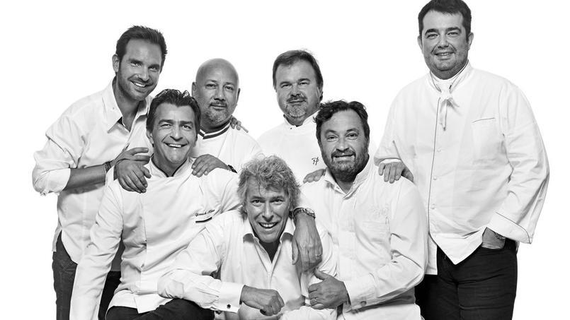 De gauche à droite: Christophe Michalak, Yannick Alléno, Frédéric Anton, Stéphane de Bourgies, Pierre Hermé, Yves Camdeborde, Jean-François Piège.