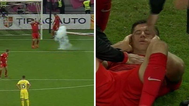 Robert Lewandowski a été sonné par un pétard jeté à un mètre de lui vendredi lors du match Roumanie-Pologne.