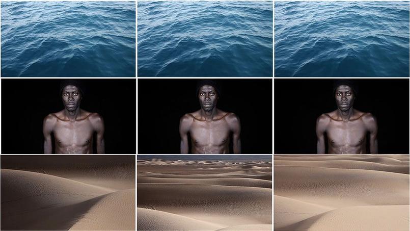 Leila Alaoui, Crossings, 2013, Installation vidéo en triptyque, 6 mn.