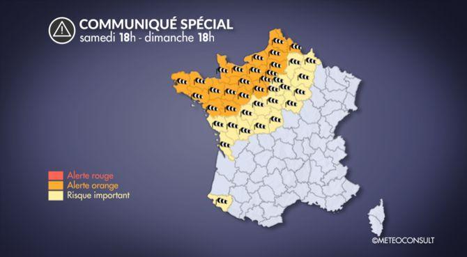 10 départements en alerte orange — Vents violents