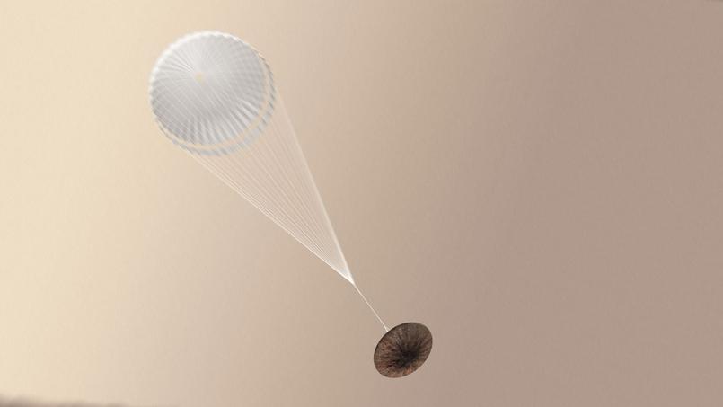 Suite à une erreur informatique, le module européen Schiaparelli a largué son parachute trop tôt. ESA/ATG medialab