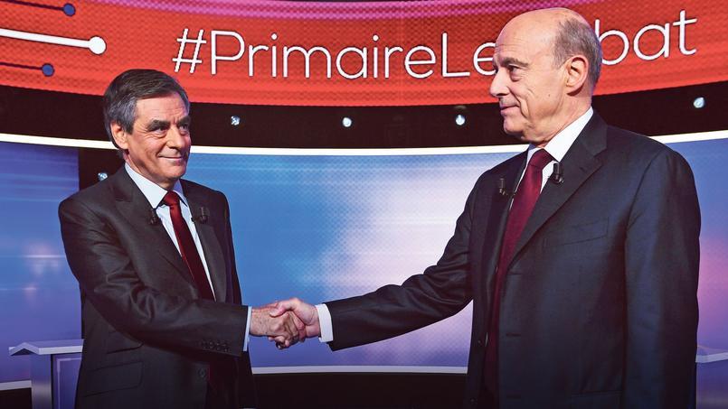 François Fillon et Alain Juppé, jeudi soir, pendant le débat télévisé.
