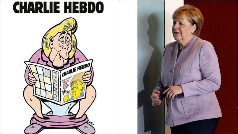 « Charlie Hebdo, le journal qui détend» titre l'hebdomadaire, présentant la chancelière assise aux toilettes.