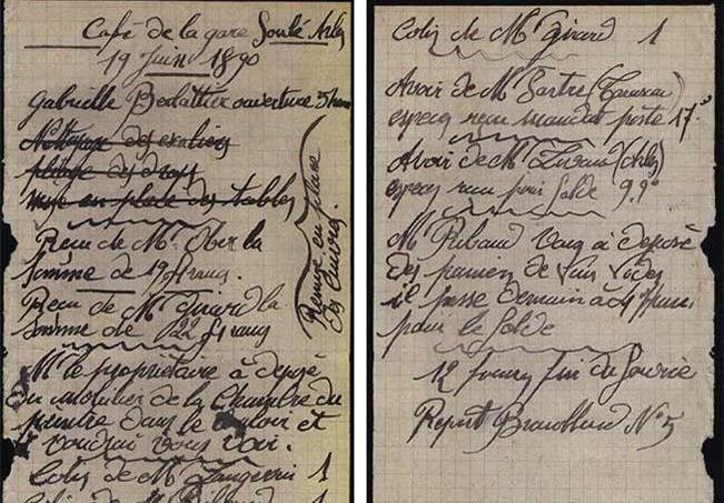 Recto et verso d'un feuillet de la main courante du Café de la Gare à Arles, avec des notes datées du 19 juin 1890. Ces deux pages manquent dans la publication pourtant dite «intégrale» du Seuil, Vincent Van Gogh, le brouillard d'Arles. © Musée Van Gogh, Amsterdam.