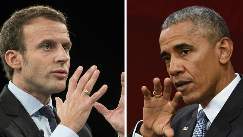 Barack Obama et Emmanuel Macron.
