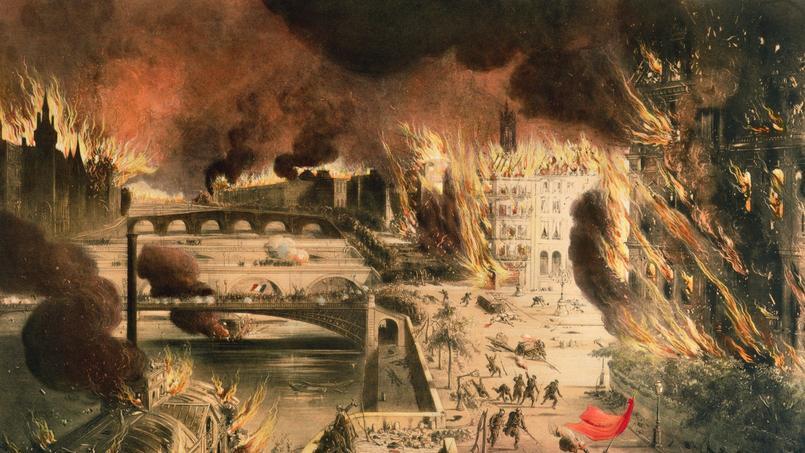 Vue de Paris en feu pendant la Commune, les 24 et 25 mai 1871.