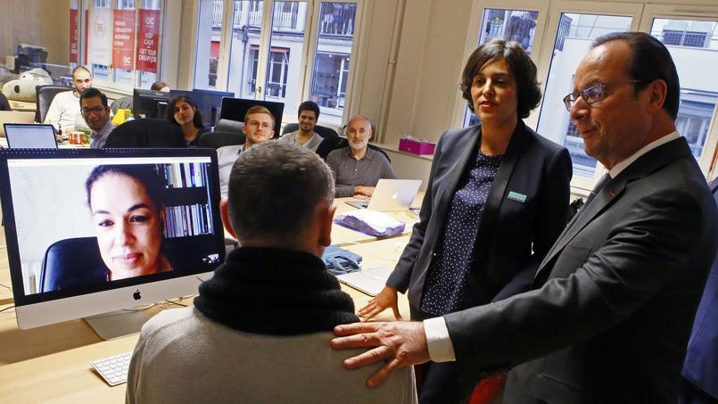 Myriam El Khomri, avec le président de la République, dans les locaux de l'organisme de formation, Open Classrooms.