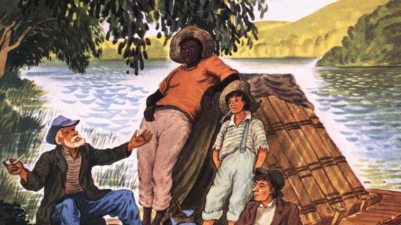 Illustration du roman Les Aventures de Huckleberry Finn, de Mark Twain, édition de 1950.