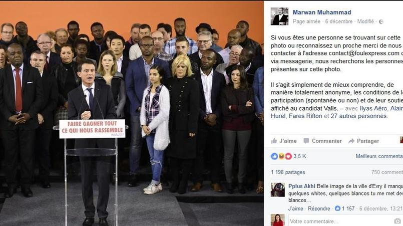 Manuel Valls à Évry lundi soir. Le directeur du CCIF Marwan Muhammad a lancé un appel pour retrouver les personnes issus de la