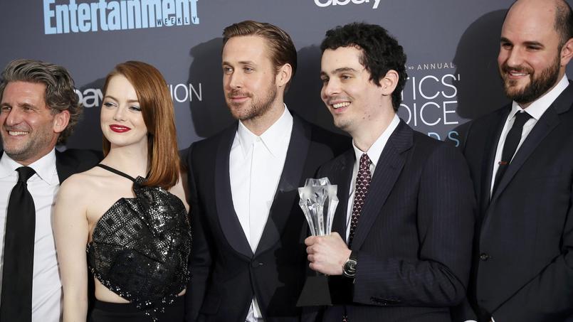 Gary Gilbert, Emma Stone, Ryan Gosling, Damien Chazelle et Jordan Horowitz, l'équipe triomphante de «La La Land».