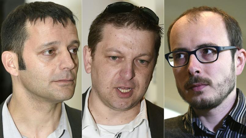 De gauche à droite, le journaliste Édouard Perrin, qui a révélé l'affaire, et les deux anciens employés de l'entreprise PricewaterhouseCoopers (PwC), Raphaël Halet et Antoine Deltour, qui ont fait fuiter les documents.
