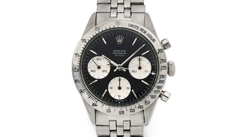 Un chronographe Daytona de Rolex, en acier, réf. 6239, vers 1966, estimé à 20.000-25.000€