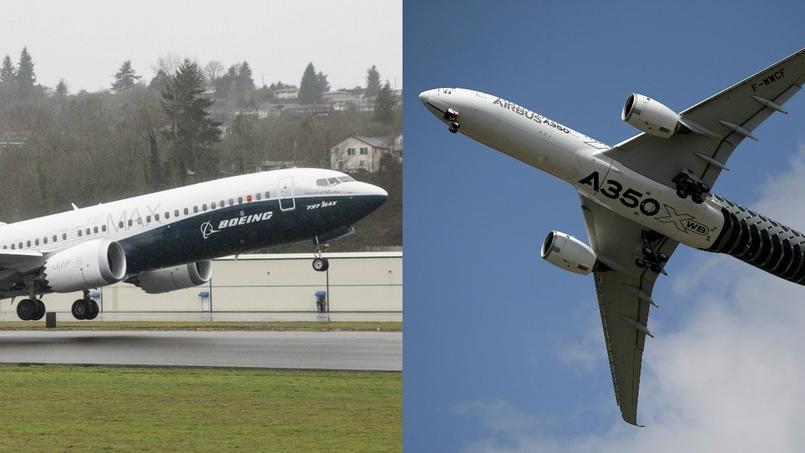 Un Boeing 737 et un Airbus A350.