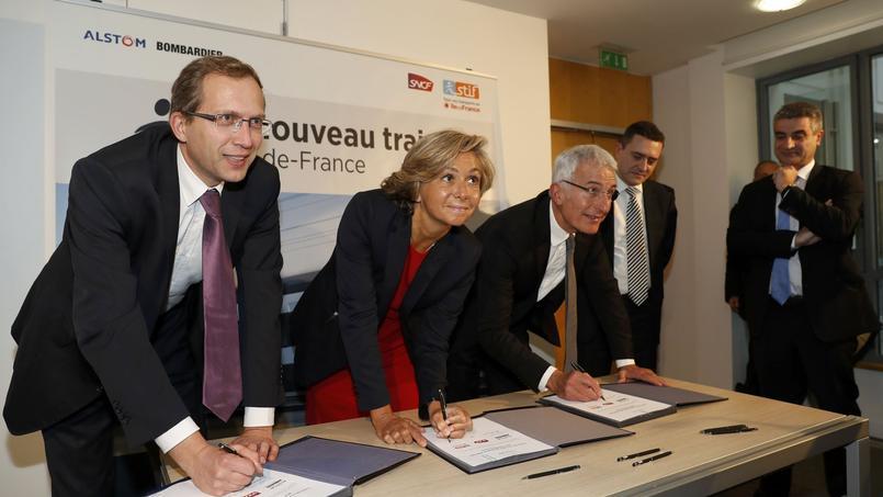 Henri Poupart-Lafarge, PDG d'Alstom, Valérie Pécresse, présidente de la région Ile-de-France, et Guillaume Pepy, patron de la SNCF.