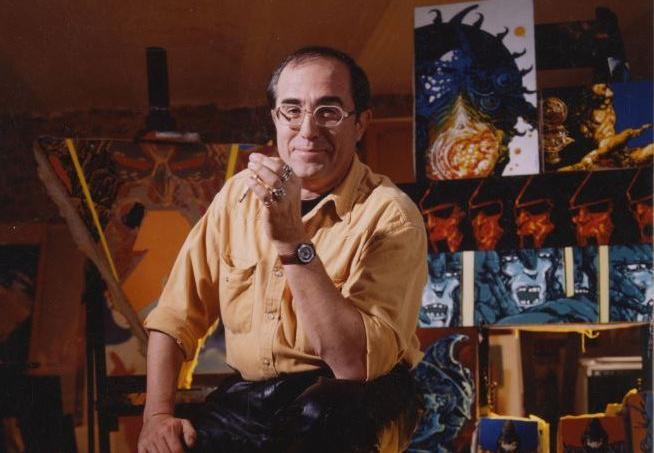 Philippe Druillet dans son atelier de Frette-sur-Seine, en 1992.