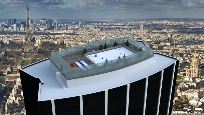 Projection de la patinoire sur le toit de la Tour Montparnasse (Paris XVe).
