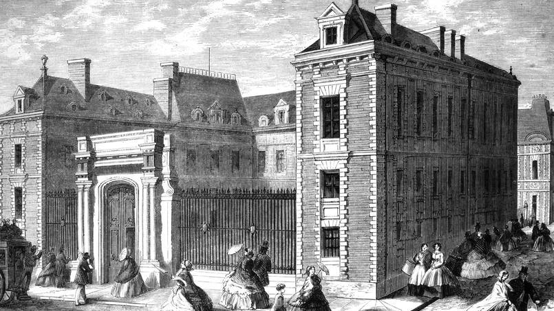 Façade de la Bibliothèque Imperiale sur la rue Neuve des Petits Champs vers 1852-1870.