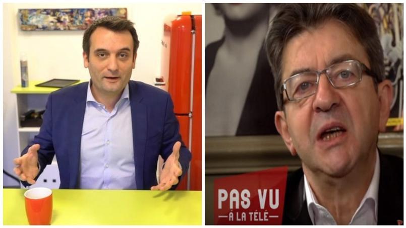 Après Jean-Luc Mélenchon, Florian Philippot a lancé sa chaîne YouTube. Crédits Photo: captures d'écran/collage Fotor.com.
