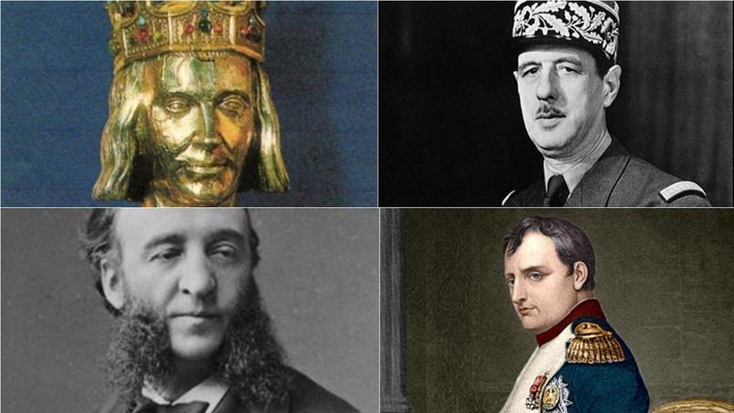 Quelques figures de l'histoire de France: Saint-Louis ; Charles de Gaulle ; Jules Ferry et Napoléon Bonaparte. Crédits Photo: Wikipedia ; Wikimedia Commons (montage Fotor.com).