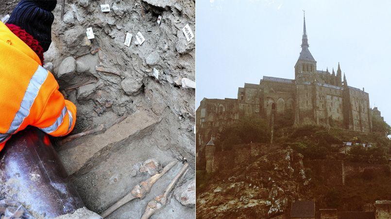 Des sépultures, datant certainement du XIIIe siècle, ont été trouvées sous les canalisations de la rue centrale du Mont Saint-Michel. Les archéologues de L'Inrap qualifient cette découverte d'exceptionnelle.