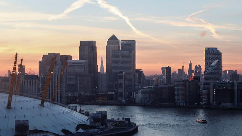 Canary Wharf et la City à Londres, au Royaume-Uni.
