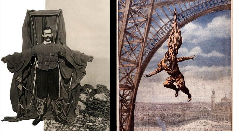 À gauche François Reichelt le 4 février 1912 dans son vêtement parachute. À droite, une illustration du «Petit Journal» de février 1912, figurant le saut de l'inventeur depuis la tour Eiffel.
