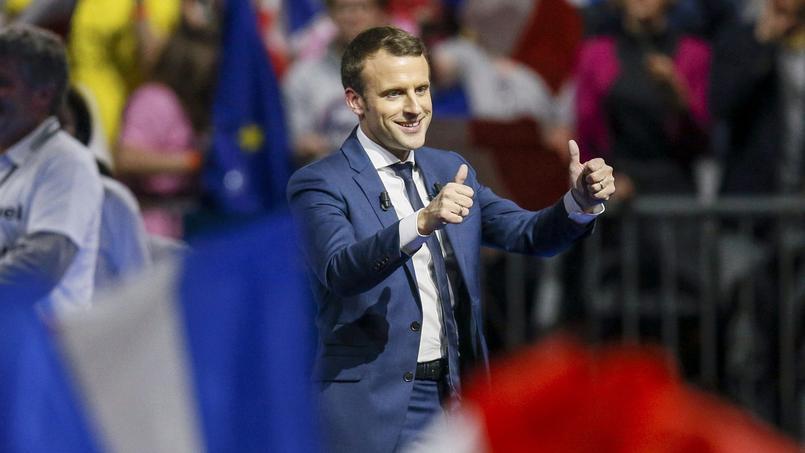 Emmanuel Macron, ce samedi à Lyon, au stade de Gerland.
