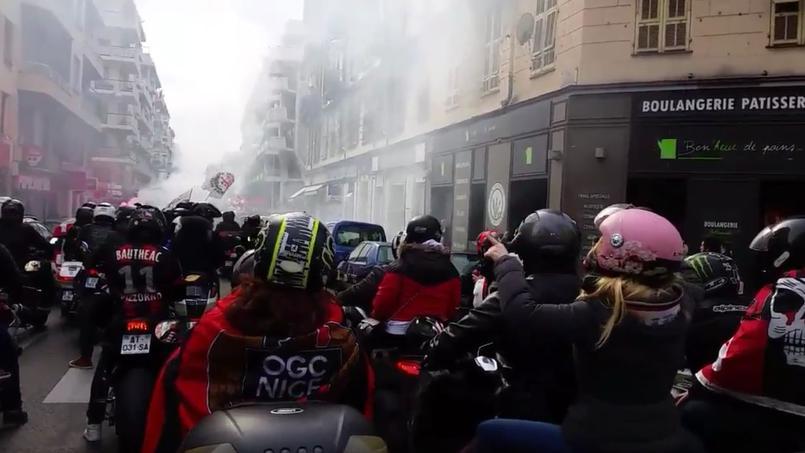 Les fans niçois dans les rues de Monaco samedi avant le choc de la 23e journée de Ligue 1.