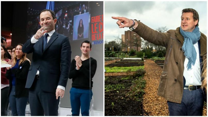 Benoit Hamon candidat PS, et Yannick Jadot, candidat EELV