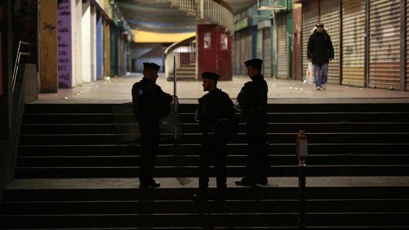 Des policiers surveillent, mardi, l'accès à la cité de la Rose-des-Vents ou cité des 3000, où habite Théo, le jeune homme blessé lors de son interpellation à Aulnay-sous-Bois.