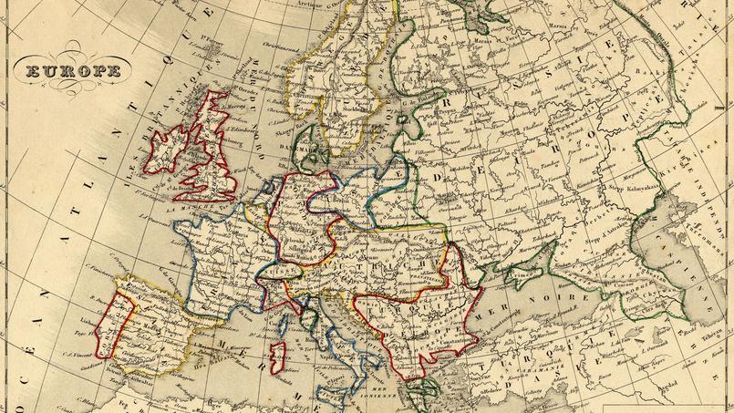 Carte de l'Europe - 1843. Crédits Photo: Wikipédia.