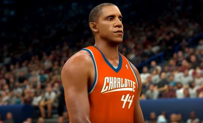 Barack Obama portant le numéro 44 des Charlotte Hornets. Crédit photo: capture d'écran Youtube