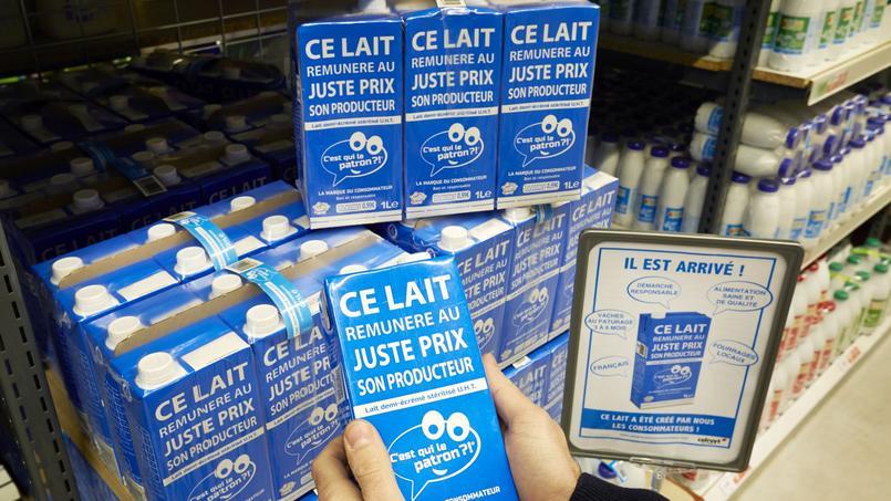 le lait de la marque «C'est qui le patron», a eu son prix de vente fixé par les consommateurs, à 99 centimes le litre.