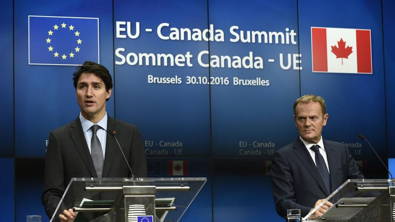 Le premier ministre canadien Justin Trudeau, et le président du Conseil européen Donald Tusk
