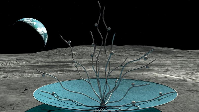 Représentation 3D de la sculpture Vitae sur la lune.