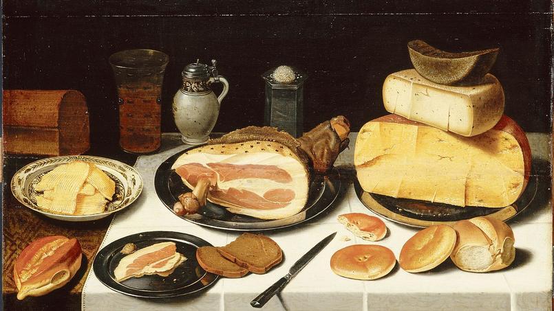 Nature morte au jambon de Floris van Schooten (1587-vers 1655), conservée au musée du Louvre, à Paris (aile Richelieu, 2e étage, salle 35).