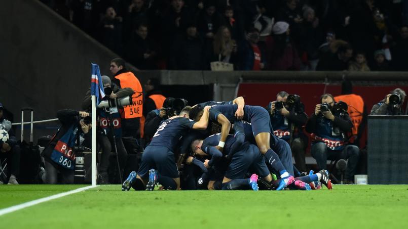 La joie des Parisiens lors de PSG - FC Barcelone