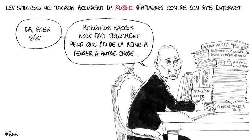 Le camp Macron se dit victime de Vladimir Poutine et de Julian Assange.
