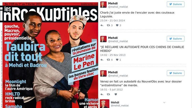 A gauche le journaliste Medhi Melkat (avec la casquette) en une des Inrocks en compagnie de Christiane Taubira. A droite, ses tweets exhumés sur la toile.