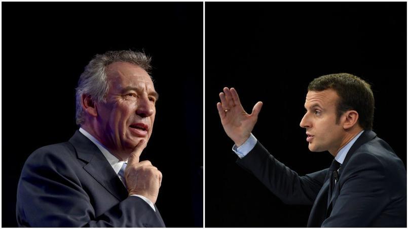 François Bayrou, président du MoDem et Emmanuel Macron, leader d'En Marche
