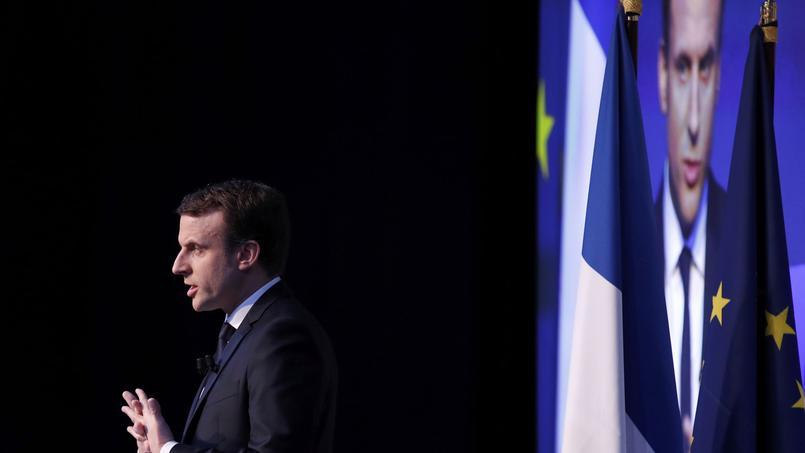 Emmanuel Macron, ce jeudi, lors de la présentation de son programme présidentiel au pavillon Gabriel, à Paris.