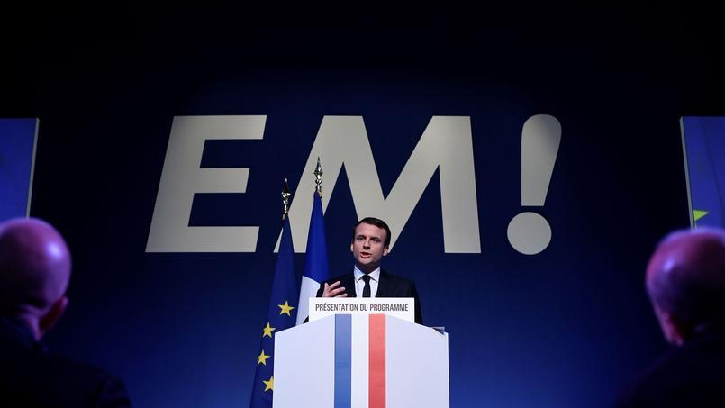 Emmanuel Macron, jeudi 2 mars, lors de la présentation de son programme pour la présidentielle.