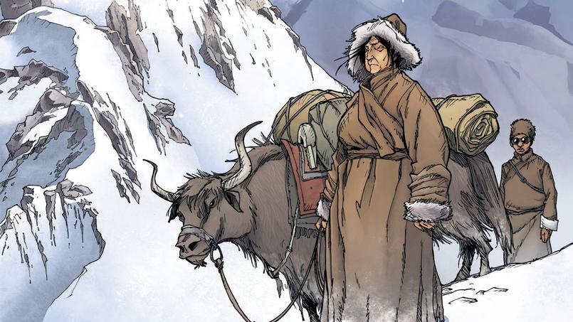 Couverture de la bande dessinée Une vie avec Alexandra David-Néel, livre 1, de Fred Campoy et Mathieu Blanchot.