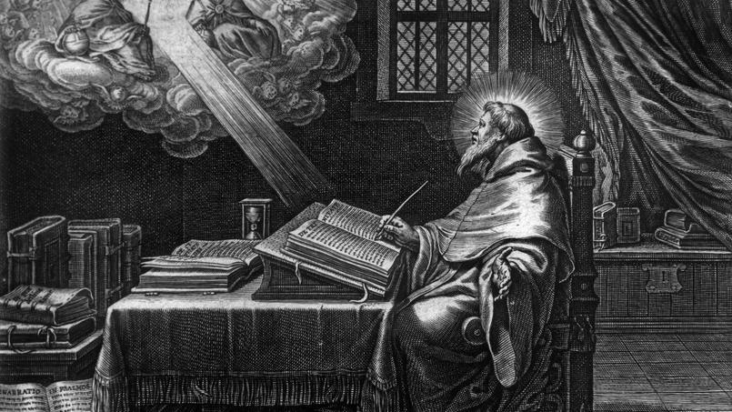 Représentation symbolique du philosophe chrétien et évêque Aurelius Augustinus (354-430) connu sous le nom de Saint Augustin d'Hippone.