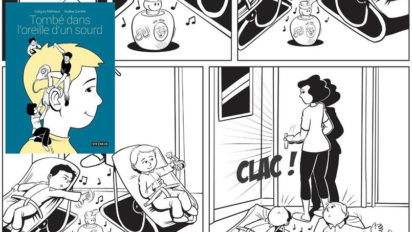 «Tombé dans l'oreille d'un sourd» (éditions Steinkis) retrace le difficile quotidien d'une famille avec un enfant atteint de grave surdité, avec justesse et humanisme.