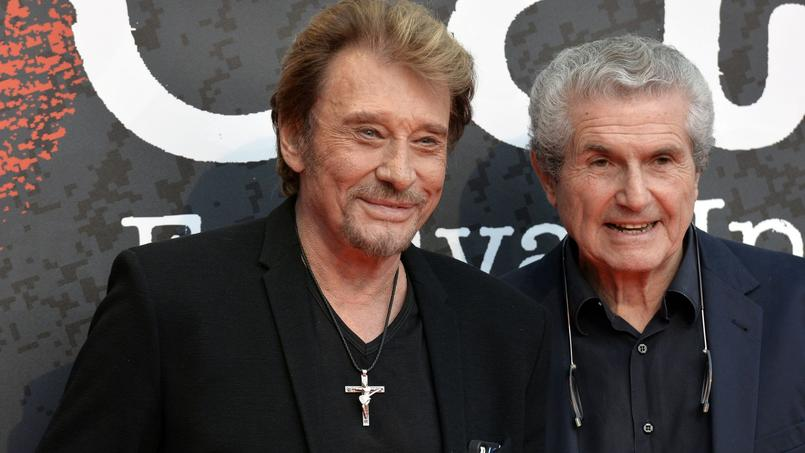 Johnny Hallyday et Claude Lelouch au festival de Beaune le 2 avril 2014.