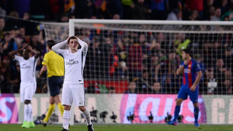 Marco Verratti n'en revient pas. Le Paris SG a encaissé 6 buts sur la pelouse du FC Barcelone.