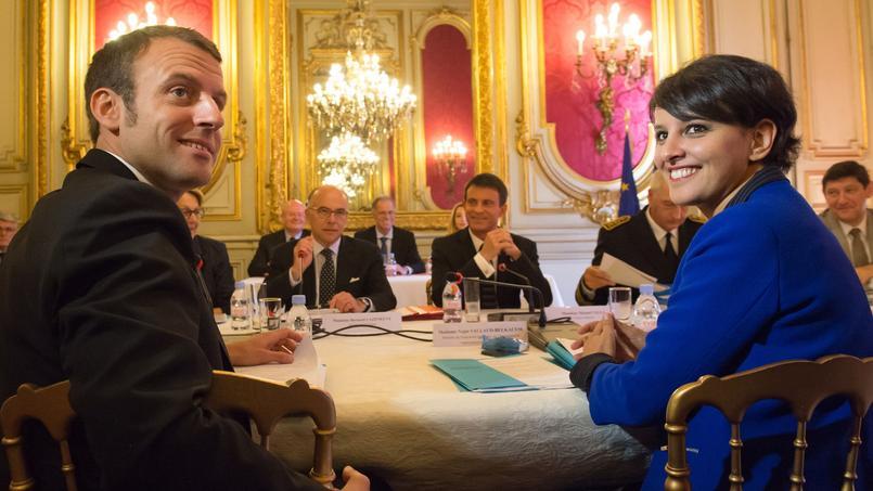 Emmanuel Macron et Najat Vallaud-Belkacem, à Marseille, le 29 mai 2015.